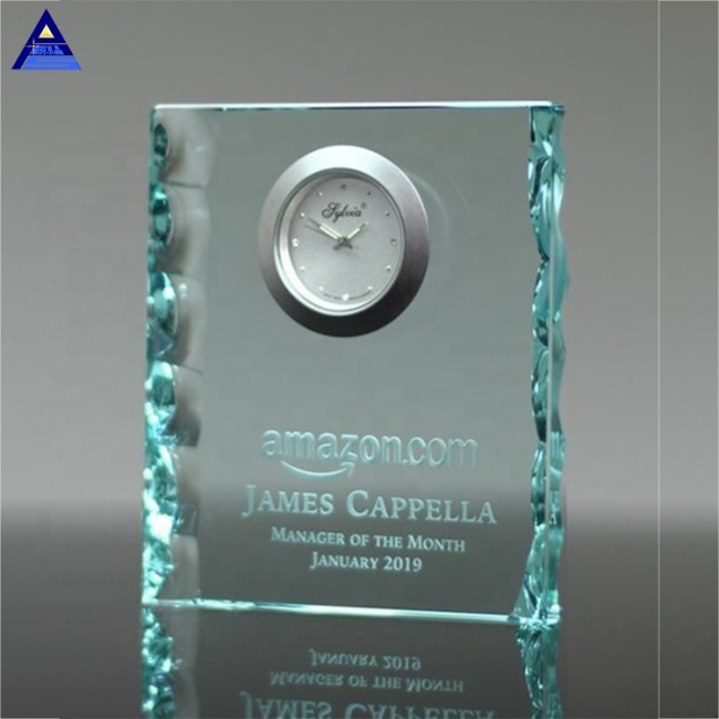 Cheap Promotional Gift Jade Pearl Edge Crystal Glass Clock For Business