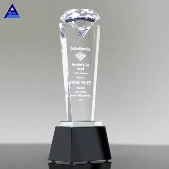 High Quality Crystal Diamond Shape Custom Theme Crystal Trophy For Sale