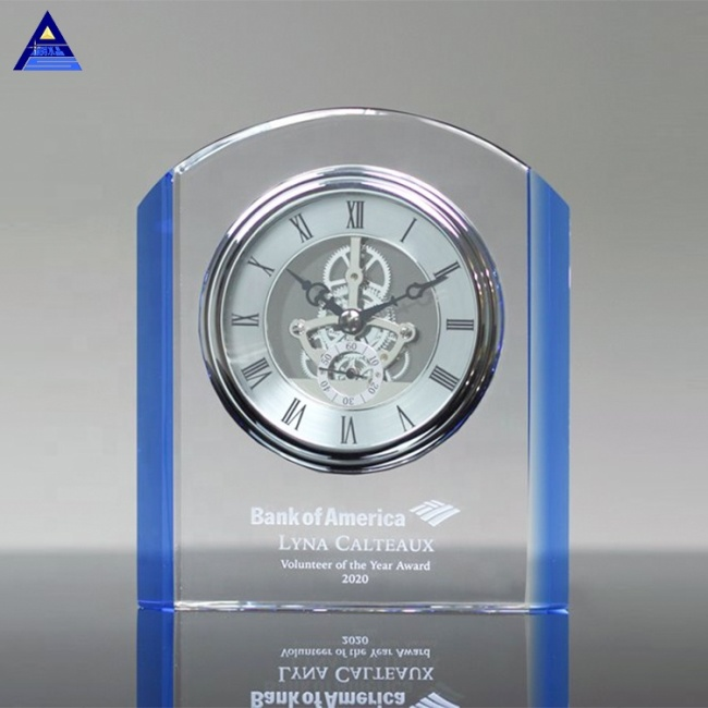 Antique Blank Appreciation 3D Laser Engraving Crystal Clock Gifts For Custom Logo