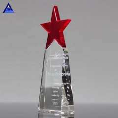 New Fashion Best Quality Red Star Crystal Trophy Plaque Engraving