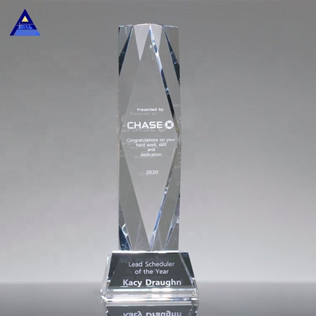 Pujiang Clear Top Crystal Obelisk Trophy Award For Ceremony Souvenir