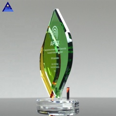 Green and Yellow Flame Remix Crystal Awards for Business Teamwork Gifts