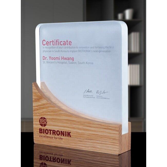 New Style Custom Best Selling Blank Wooden Crystal Plate Trophy Award