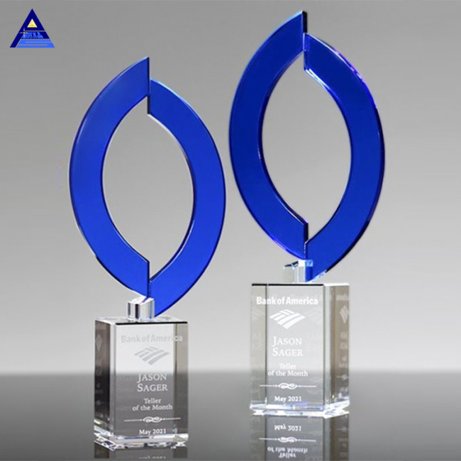 Best Selling Custom Sapphire Crystal Flame Award ,Design K9 Crystal Award Trophy