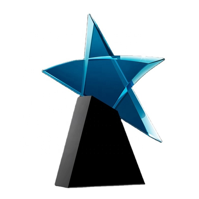 Personalized Blue Color Crystal Star Trophy Crystal Plaque Award