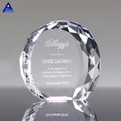 Clear K9 Crystal Diamond Trophy Faceted Circle Large Glass Cube Paperweight
