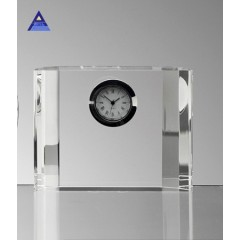 New Style Personalized Cheap Gift Custom Logo Engraved Crystal Table Clock