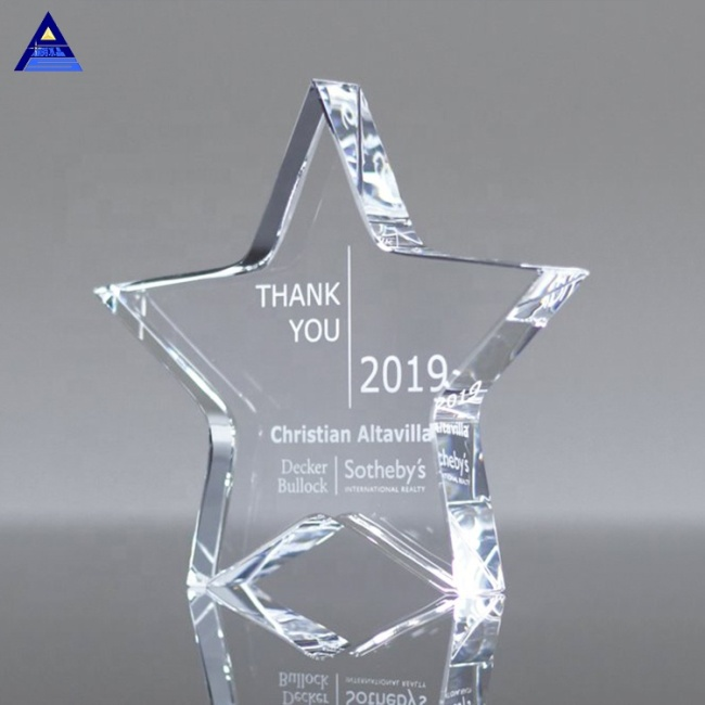 K9 High Quality Custom Cheap Clear Star Trophy Crystal Glass Paperweight