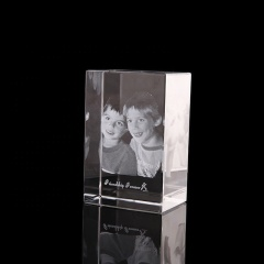 FS Crystal Top Quality Custom Logo Photo 3d Laser Engraving Crystal Cube For Sale