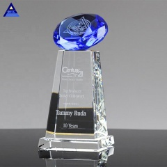 Wholesale Customized Weddings Decoration Blue Diamond Award Crystal