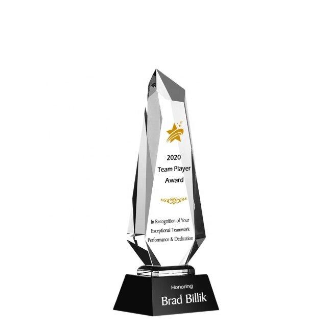 high quality obelisk crystal trophy awards blank laser engraving Ice Peak Crystal Glass Awards
