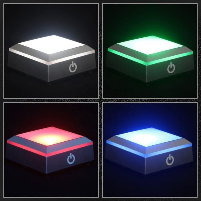 FS Crystal LED Light Base for Crystal 3D Glass Art Colorful Lighted Square Stand Display Plate Flat