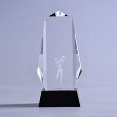 Wholesale 3D Laser Engraved Carved Sport Golf Optical Crystal Awards Trophy With Base
