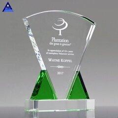 2020 New Style Custom Made Emerald Triad Crystal Plaque Award For Trophy
