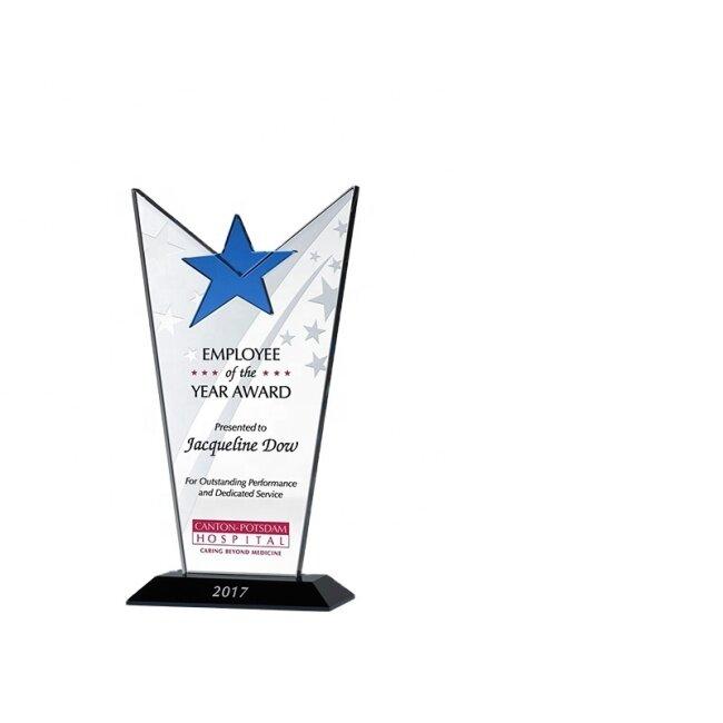 wholesale Blank Star Shape Crystal Trophy Award Blue Crystal Plaque Trophies
