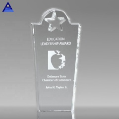 2019 New Design Custom Shining Engraving Royal Star Glass Trophy