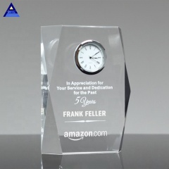 Unique Design Crystal Square Faceted Clock Award Trophy