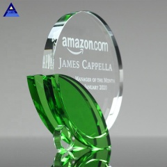Wholesale Promotion Cheap Cup Trophies Crystal Leaf Award Plaques Trophies For Corporate Anniversary Gift