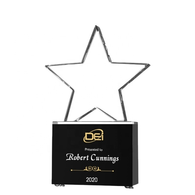 Wholesale K9 Blank Crystal Star Trophy Award With Black crystal Base