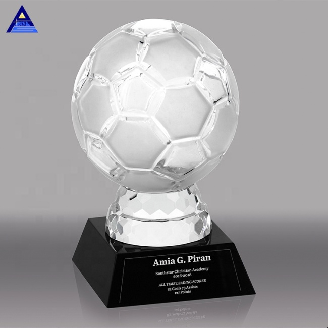 Customized Logo 3D Laser Engraving Optical  Engraving Crystal Glass Soccer Trophy