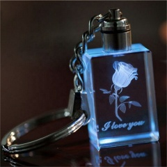 K9 Custom LED led flashlight crystal key chain/3D Laser Inside Rose Flower Key Chain Crystal For Wedding Present