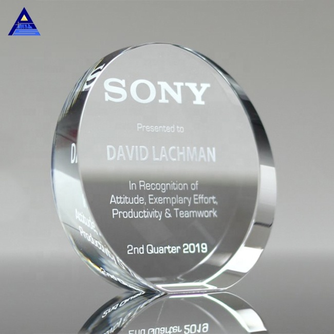Premium Blank Clear Glass The Unique Engraving Circle Shape Crystal Trophy Of Award