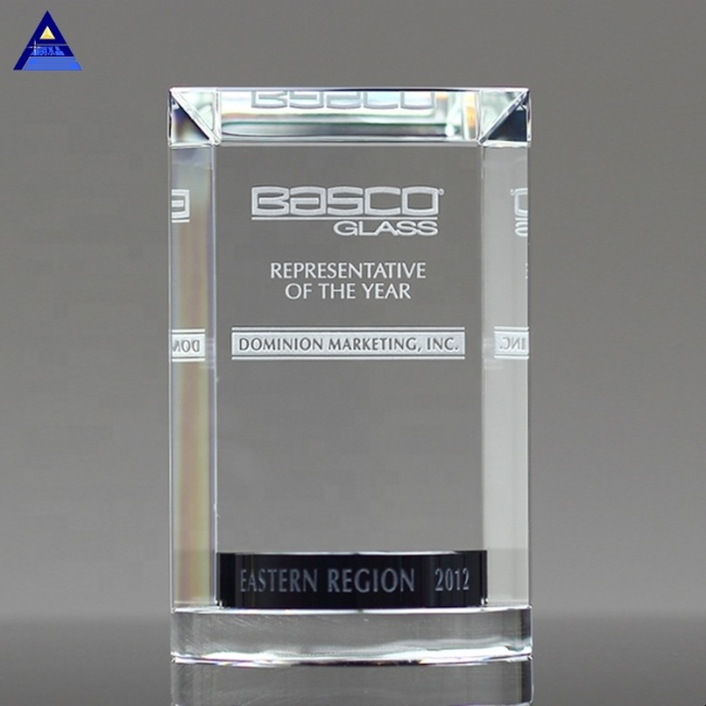 Factory Wholesale Colored Goal Achievement  Crystal Plaque Glass Trophy Award