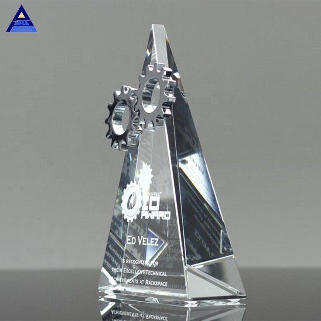 Barnard Triangle Shape Silver Trophy Crystal Gear Award