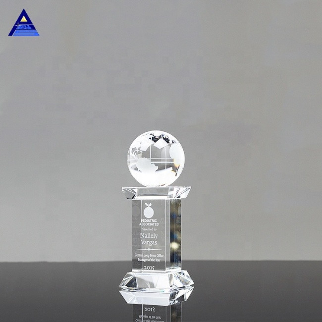 Hot Sale K9 Crystal Glass Round Ball Map Glass Crystal Globe For Souvenir