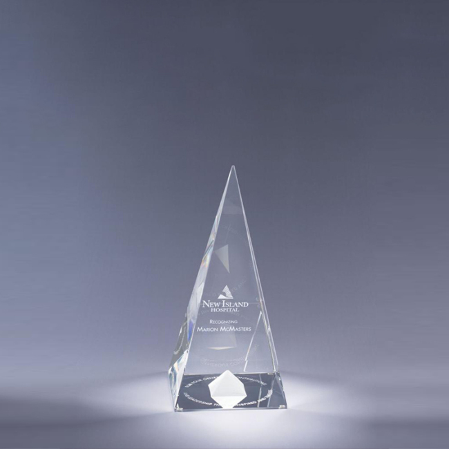 High Quality Customized Simple Design Pagoda Mountain Peak Shape Crystal Obelisk Trophy Award