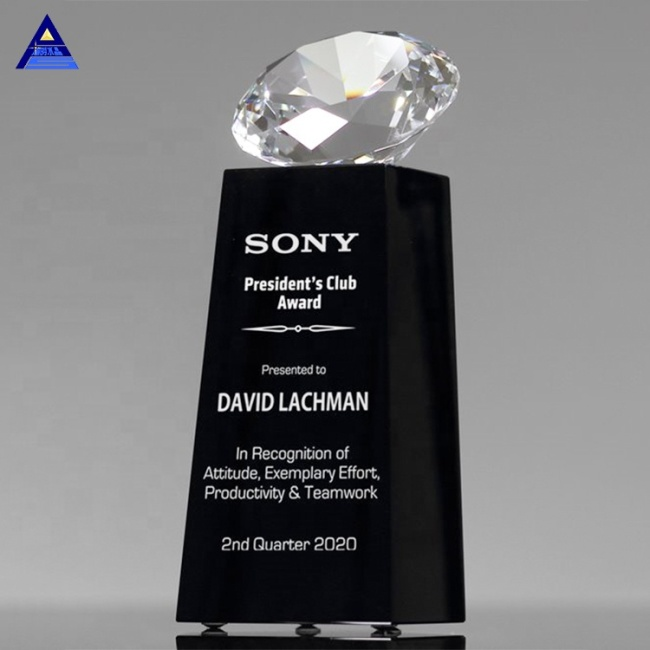High Quality Cheap Presidential Crystal Diamond Trophy With Black Base