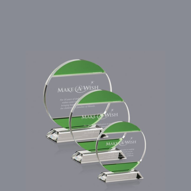Many Years Factory Green round custom transparent crystal trophy crystal trophy