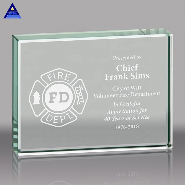 Custom rectangle shaped crystal award trophies with logo custom