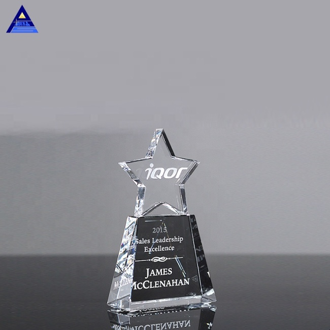 Customized Shape OEM/ODM Optical Crystal Star trophy of Excellence Award Trophy