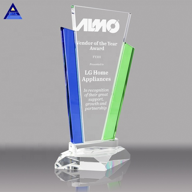 Custom Quality 3D Engrave Crystal Marquee with Blue & Green Uprights Awards