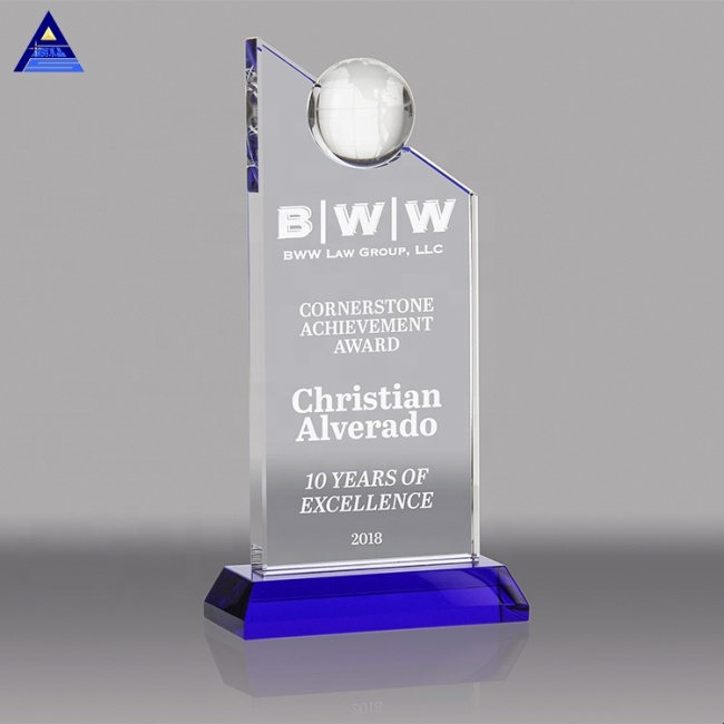 Custom Blue Globe Devotion Crystal Award Trophy Plaque