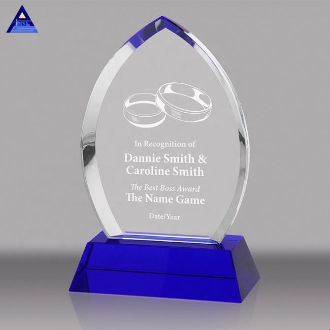 Personalized Text Engraving Blue Flame Crystal Award Trophies And Sample Award Trophy Plaque
