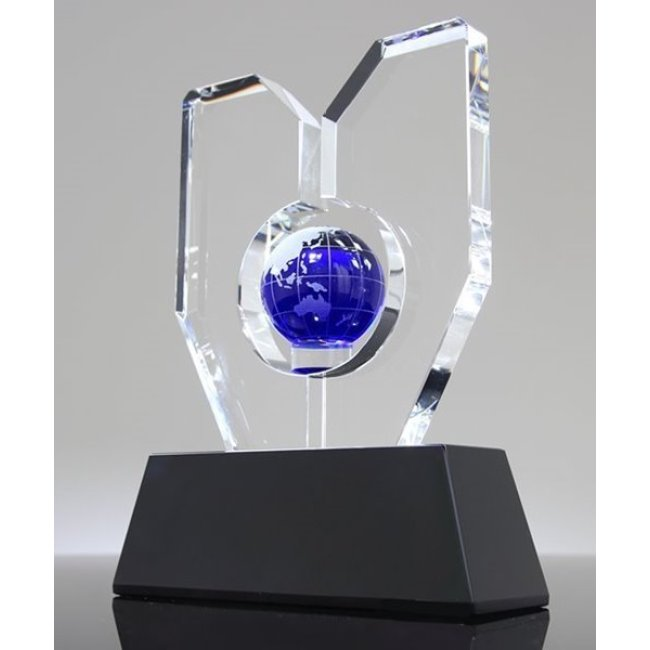 globe crystal ball trophy with earth map sports Crystal trophy award for souvenir