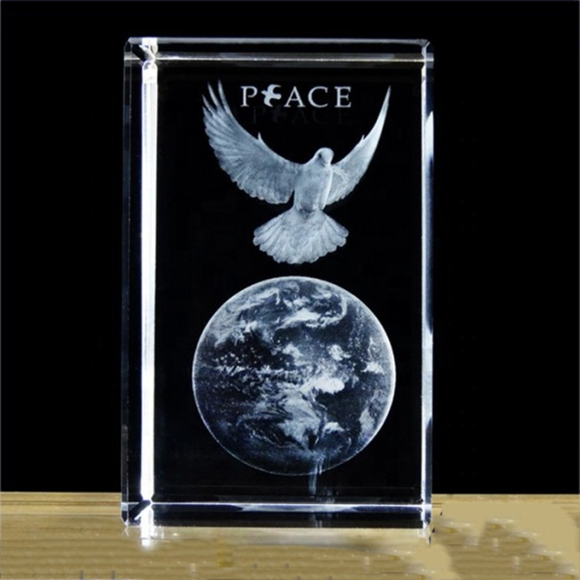 2020 hot 3D laser engraving crystal peace pigeon