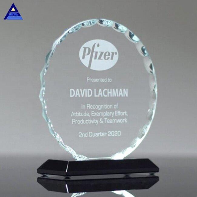 Hot Popular Custom Souvenir Use Customized Facet Round Glass Award Trophy