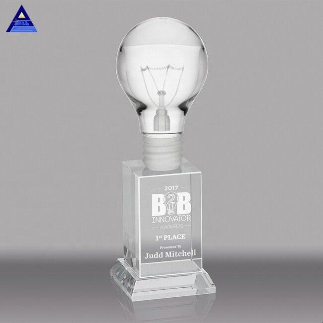 High Quality Cheap Custom K9 Clear Crystal Award Light Bulb Trophy For Souvenir Gift