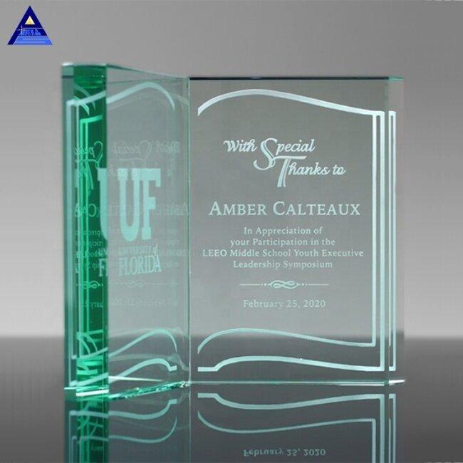 OEM And ODM Elegant Custom Jade Glass crystal Book Award Trophy