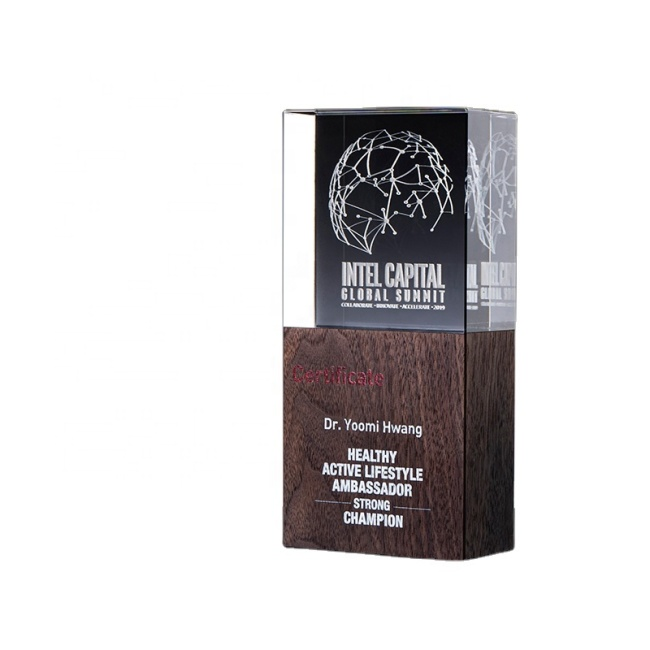 High Quality Crystal Award Noble Customized Crystal Trophies plaques wooden shield awards