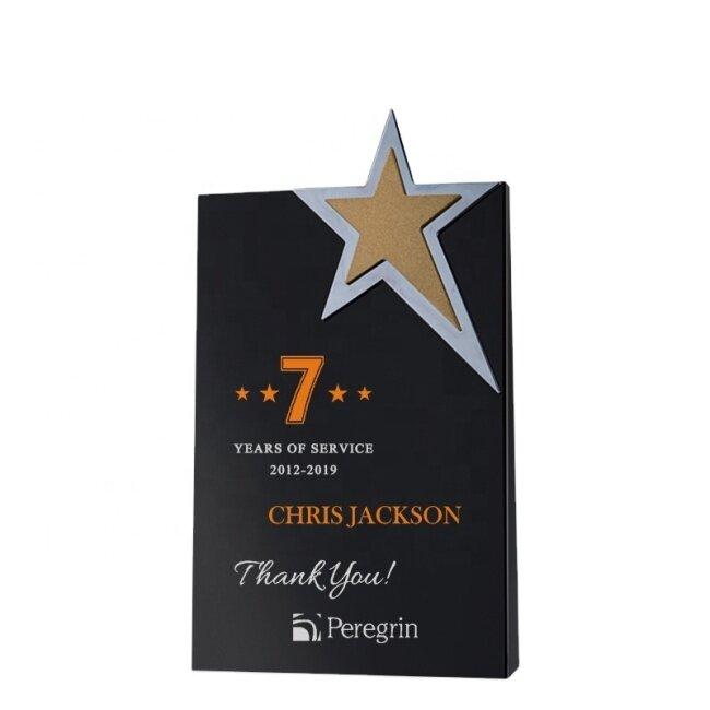 2021 New Black Crystal Award Black Crystal Beveled Five Pointed Star Medal Crystal Sandblasted Trophy