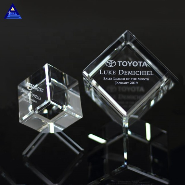 Transparent Printed Logo K9 3D Laser Carving Glass Crystal Cube Paperweight