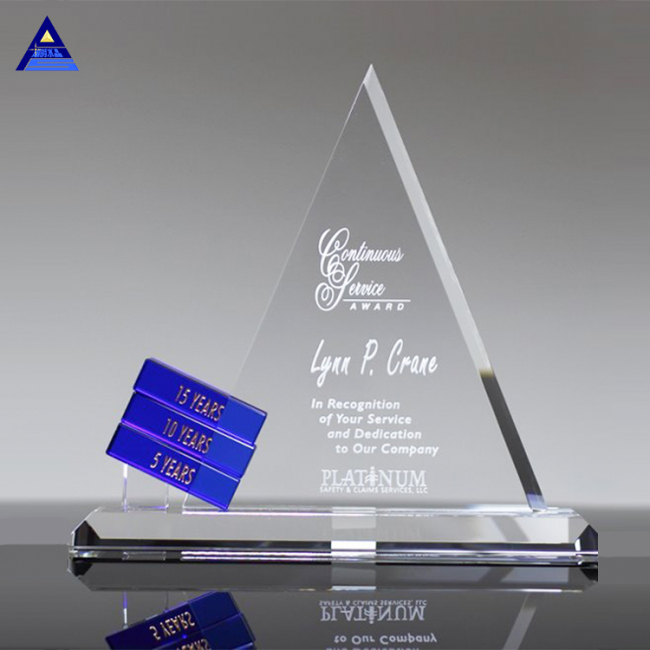 Custom Made Muslim Islamic Crystal Glass Triangle 3D Trophy