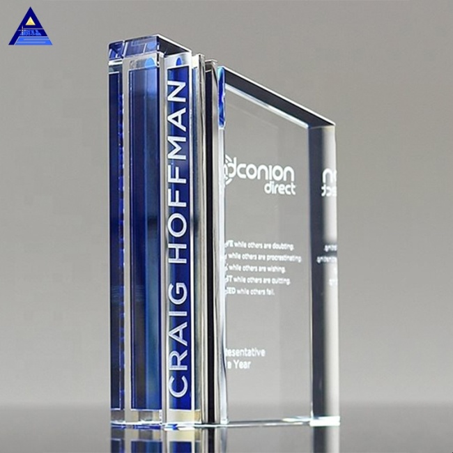 2019 Exquisite Design Team Souvenir Custom Blue Clear Transform Honor Crystal Trophy