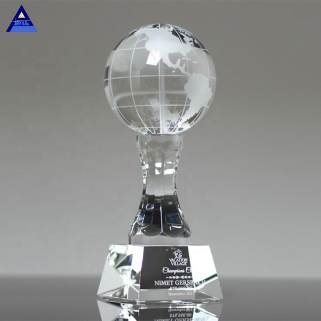 Wholesale Fancy Engraved Crystal World Globe Trophy For Office Gifts