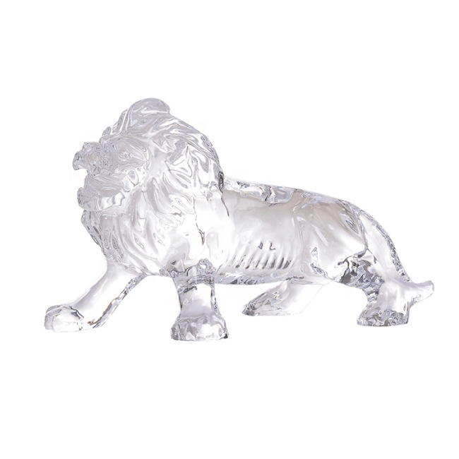 Fengshui Wholesale Custom Animal Figurine Decorative Majestic Crystal Lion Figurine For Business Gift