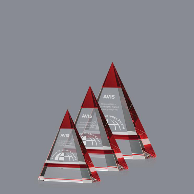 Latest Promotion Price Cheap Red Crystal Triangle Gift Award Trophy for Corporate Promotional Gifts
